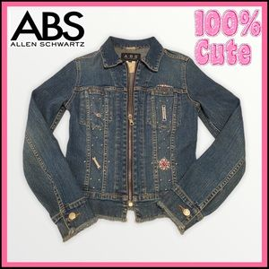 ABS BLING BEDAZZLED JEAN JACKET WORN ONCE Sz P